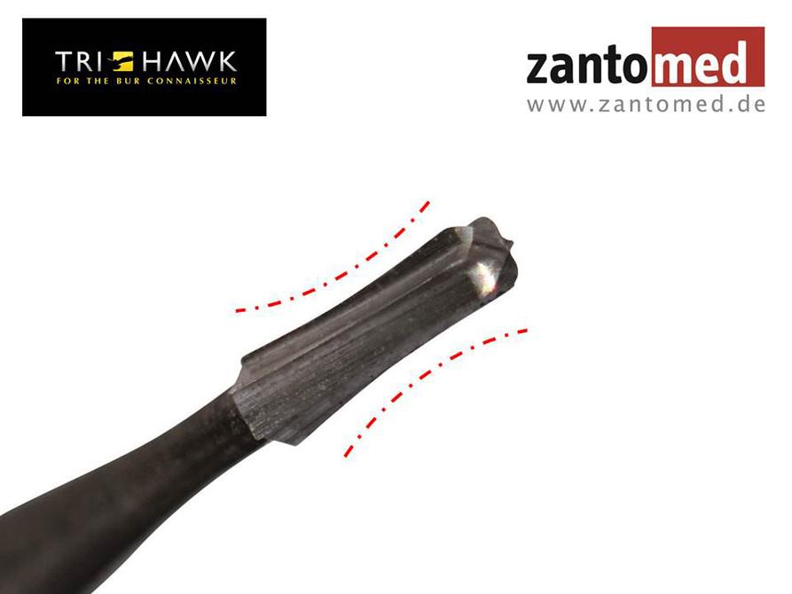 Der TriHawk Talon 12 (früher 1158) ist ein Einmalkronentrenner, der dank seines speziellen Schliffs sowohl horizontal als auch vertikal schneidet.