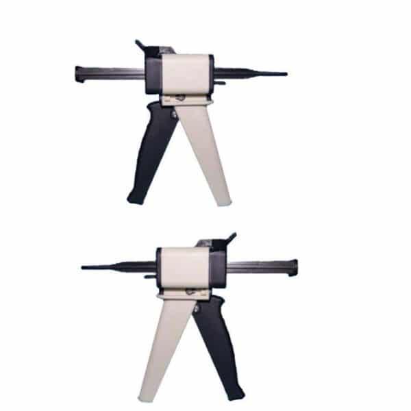 Mischpistole für die automatische Anmischung und direkte Applikation von Silikon-Abformmaterialien im Mischungsverhältnis 1:1/2:1 und 4:1/10:1.