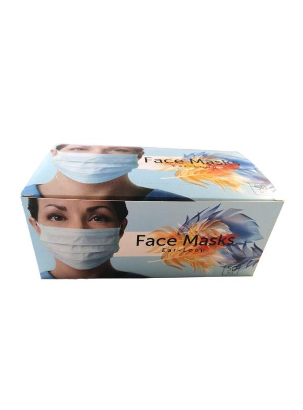 Hochqualitative Gesichtsmaske, 3 lagig mit elastischer Ohrschlaufe, Type IIR, Bakterielle Filtrationseffizienz >= 98%